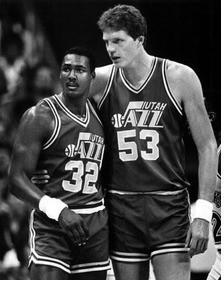 Utah Jazz players Karl Malone and Mark Eaton